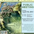 Flier developed by NRS for the first McKay Tract Community Forest Public Meeting.